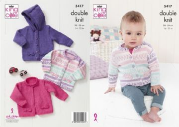 King Cole 5417 Knitting Pattern Baby Cardigans in Cherish DK and Cherished DK